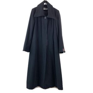 Kristen Blake Long Black Wool Cashmere Coat